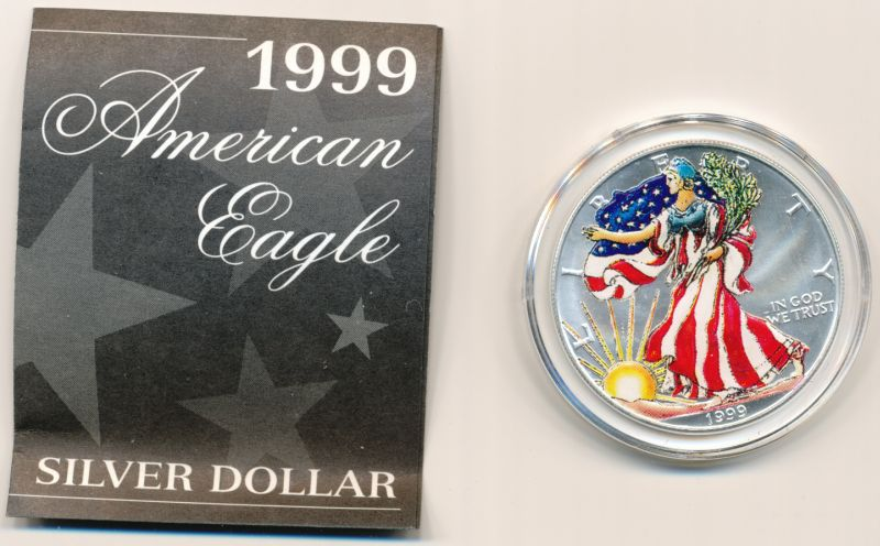 1999 American Eagle Silver Dollar Painted 999 Fine